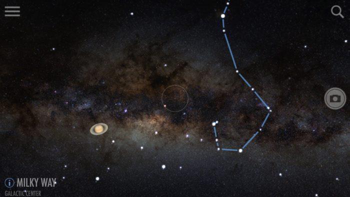 Milky Way center in SkyView iOS app screenshot