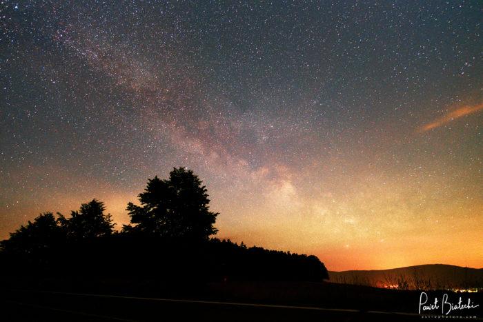 Milky Way near Frýdlant, Czech Republic. Astrophotography landscape.