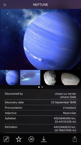 Neptune planet info in Night Sky iOS app screenshot