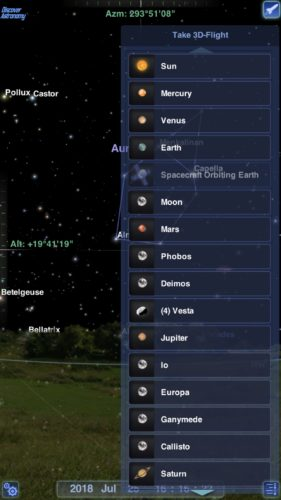 3D flight in Redshift Pro Astronomy iOS app screenshot