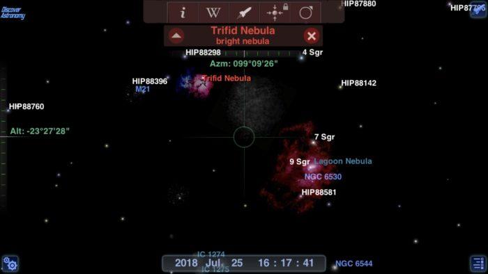 Trifid nebula in Redshift Pro Astronomy iOS app screenshot