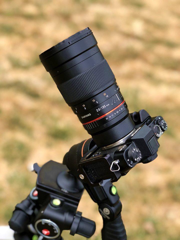 Samyang/Rokinon 135mm f/2 manual telephoto astrophotography lens mounted on Fuji X-T20 mirrorless camera