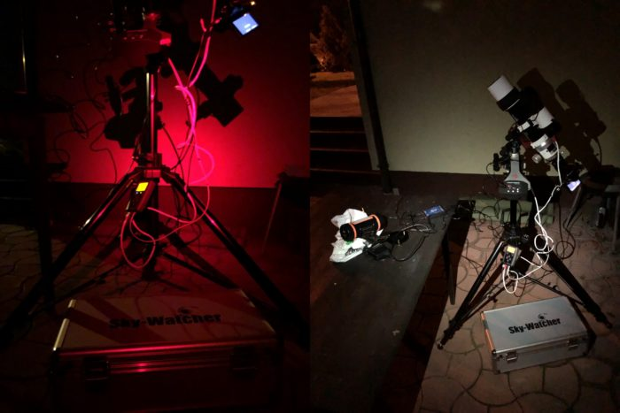 Brightening my astrophotography setup by Petzl ACTIC CORE by different light colors.
