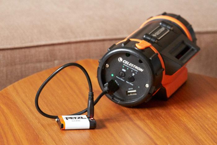 Charging Petzl ACTIC CORE from an external powerbank (my Celestron PowerTank Lithium)