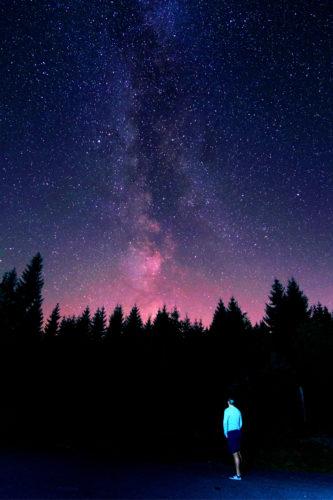Astrophotographer under the Milky Way. Astrophotography is easy under dark skies.