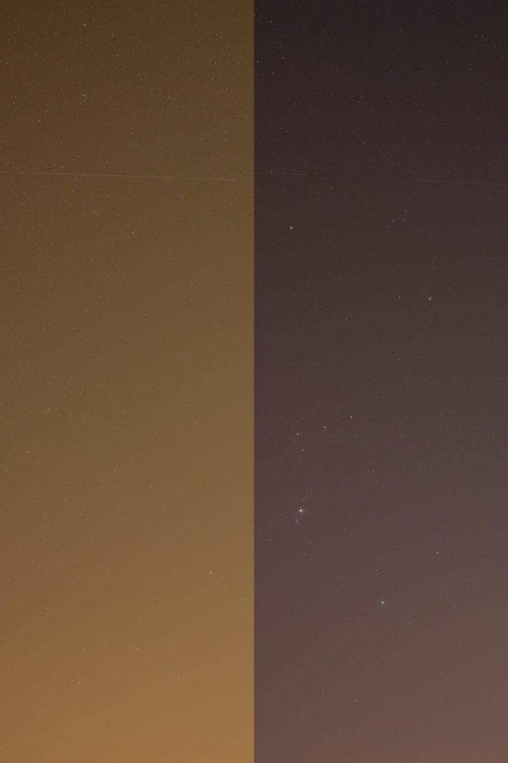 Orion constellation comparision: with Hoya Red Intensifier, and without.