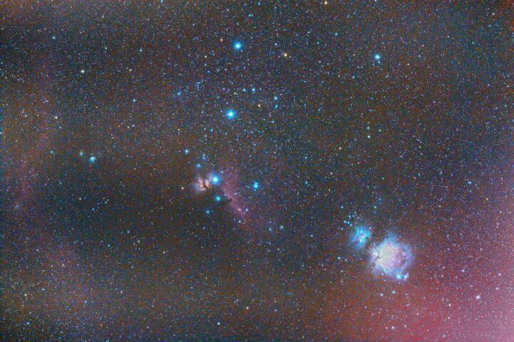 Orion Belt and Orion Sword (Orion Nebula, Flame Nebula, Horsehead Nebula, Running Man Nebula) photographed with Rokinon/Samyang 135mm f/2 lens.