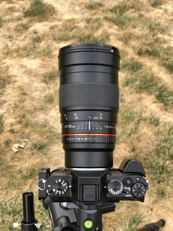 Rokinon 135 mm mounted on Fuji X-T20.